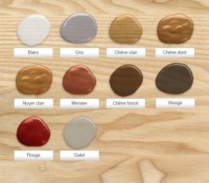 nuancier teinte pour meuble en bois