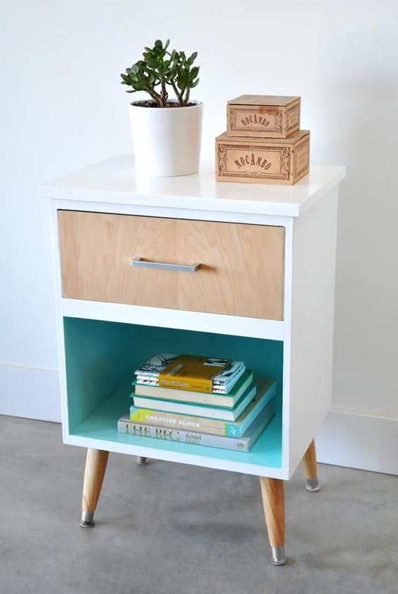 Mobilier au design vintage scandinave relooker un meuble - Fabriquer une table de chevet ...