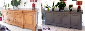 Via mgdecors.fr Echene_collage_horizontal Un buffet bas totalement repeint , le corps du meuble dans une teinte satinée et le plateau dans une autre teinte , avec changement des poignées.