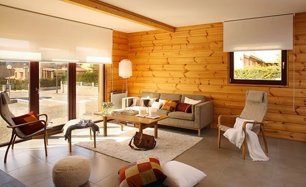 Salon contemporain avec un mur en bois | Relooker meubles