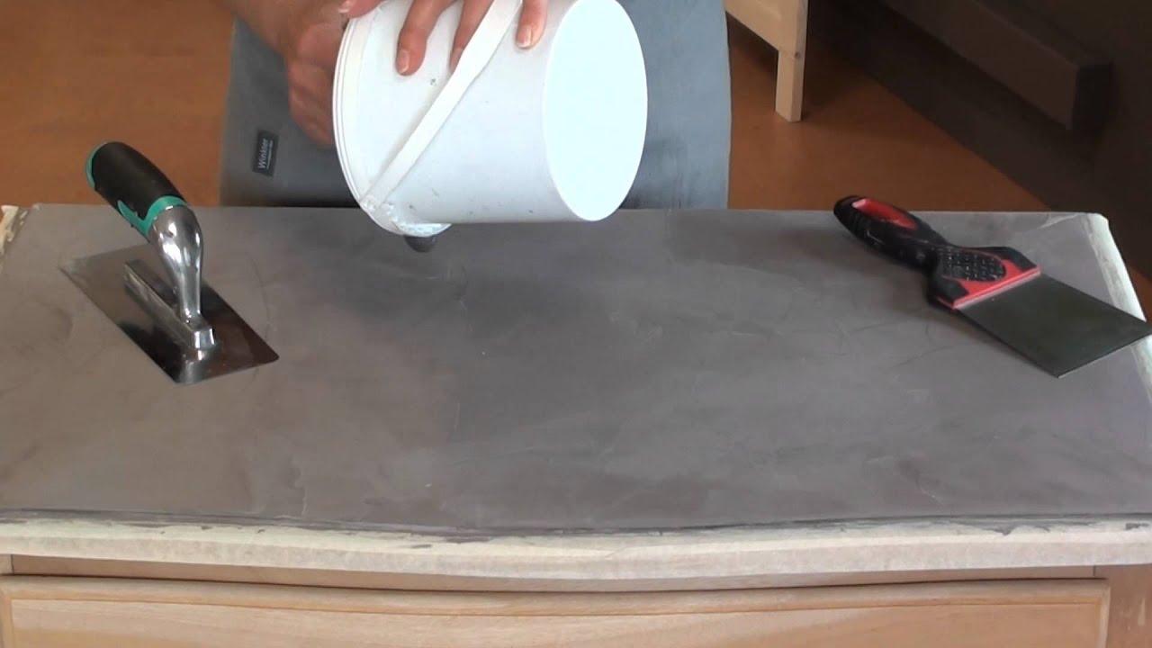Table En Béton Ciré Et Bois ▷ relooker un meuble avec du béton ciré | relooker meubles